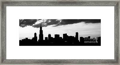 Chicago Skyline Silhouette Panorama Photo Framed Print by Paul Velgos