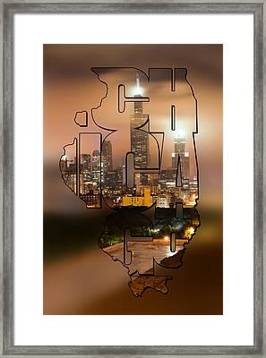Chicago Skyline Typography Blur - State Shape Series Framed Print