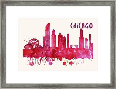 Chicago Skyline Watercolor Poster - Cityscape Painting Artwork Framed Print
