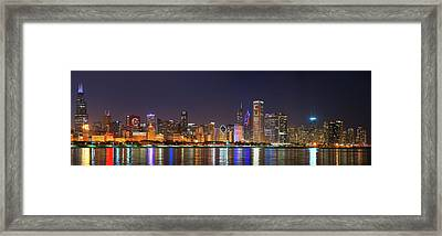Chicago Skyline With Cubs World Series Lights Night, Chicago, Cook County, Illinois,  Framed Print