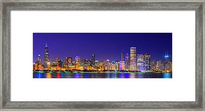 Chicago Skyline With Cubs World Series Lights Night, Lake Michigan, Chicago, Cook County, Illinois Framed Print by Panoramic Images