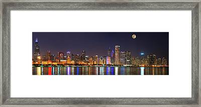Chicago Skyline With Cubs World Series Lights Night, Moonrise, Chicago, Cook County, Illinois, Usa Framed Print by Panoramic Images