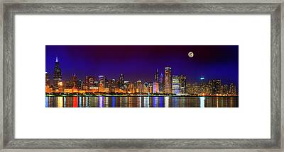 Chicago Skyline With Cubs World Series Lights Night, Moonrise, Lake Michigan, Chicago, Illinois Framed Print