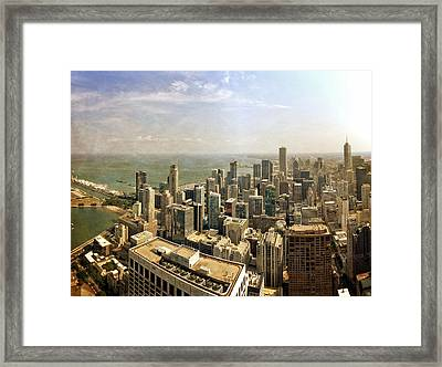 Chicago Skyline With Navy Pier Framed Print