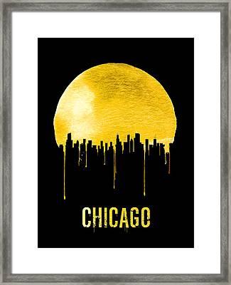 Chicago Skyline Yellow Framed Print by Naxart Studio