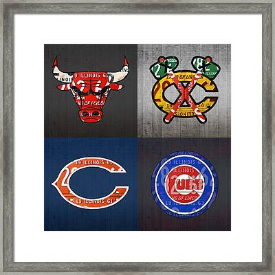 Chicago Sports Fan Recycled Vintage Illinois License Plate Art Bulls Blackhawks Bears And Cubs Framed Print by Design Turnpike