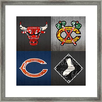 Chicago Sports Fan Recycled Vintage Illinois License Plate Art Bulls Blackhawks Bears And White Sox Framed Print