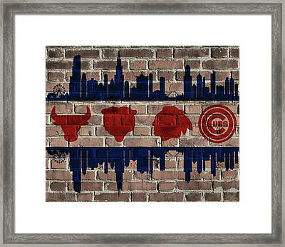 Chicago Sports Team Flag On Brick Framed Print