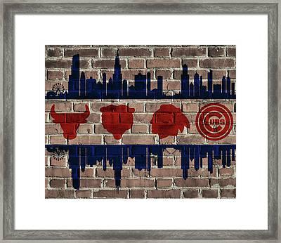 Chicago Sports Team Flag On Brick Framed Print