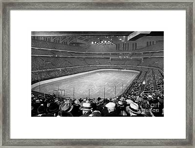 Chicago Stadium Prepared For A Chicago Blackhawks Game Framed Print by Celestial Images