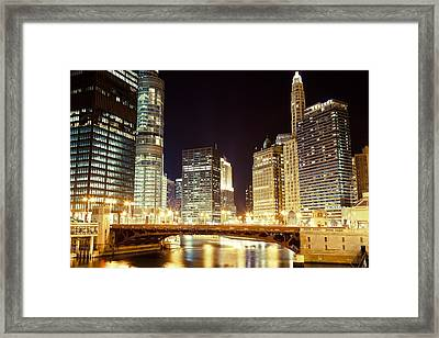 Chicago State Street Bridge At Night Framed Print by Paul Velgos