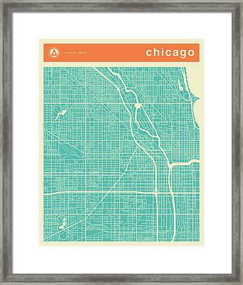 Chicago Street Map Framed Print by Jazzberry Blue