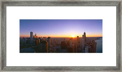 Chicago Sunset, Aerial View, Illinois Framed Print