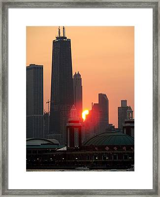 Chicago Sunset Framed Print by Glory Fraulein Wolfe