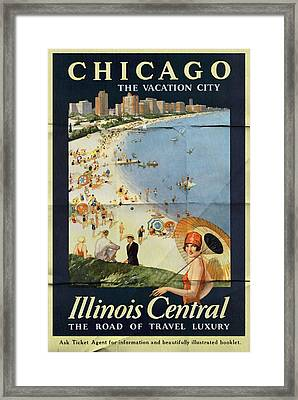 Chicago The Vacation City - Vintage Poster Folded Framed Print