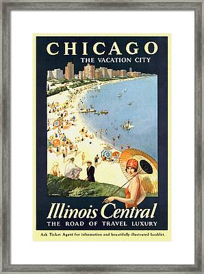Chicago The Vacation City - Vintage Poster Restored Framed Print