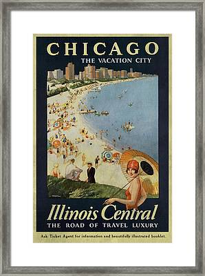 Chicago The Vacation City - Vintage Poster Vintagelized Framed Print
