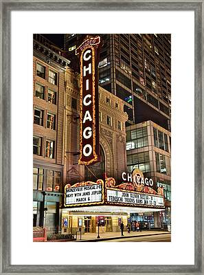 Chicago Theater Alight Framed Print by Frozen in Time Fine Art Photography