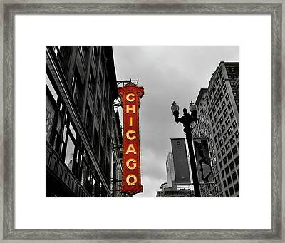 Chicago Theater In Black And White Framed Print