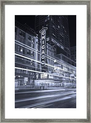 Chicago Theater Marquee B And W Framed Print