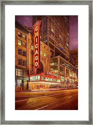 Chicago Theatre At Dusk - 175 North State Street - Chicago Illinois Framed Print by Silvio Ligutti