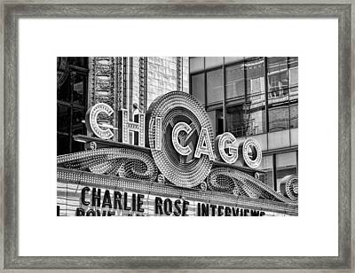 Chicago Theatre Marquee Black And White Framed Print