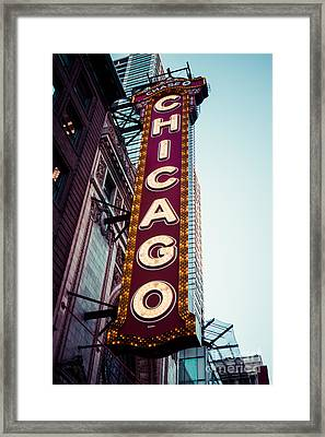 Chicago Theatre Marquee Sign Vintage Framed Print by Paul Velgos