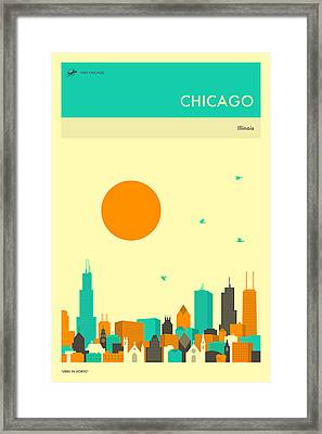 Chicago Travel Poster Framed Print by Jazzberry Blue