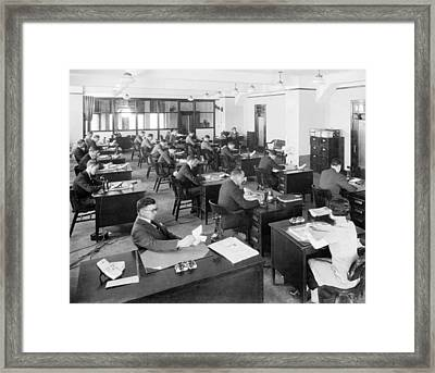 Chicago Tribune Office Framed Print by Underwood Archives
