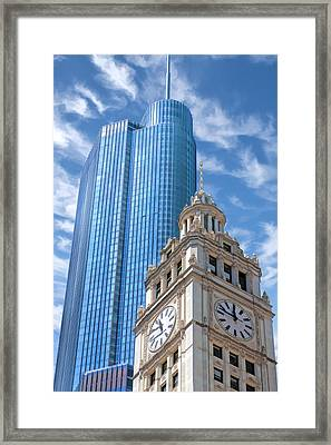 Framed Print featuring the painting Chicago Trump And Wrigley Towers by Christopher Arndt