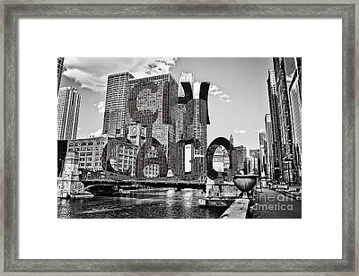 Chicago Typography  Framed Print by Emily Kay