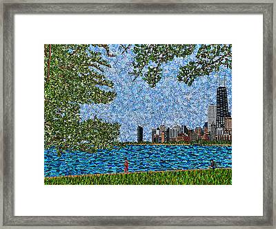 Chicago - View From Lakefront Trail Framed Print by Micah Mullen