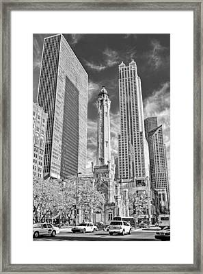 Chicago Water Tower Shopping Black And White Framed Print by Christopher Arndt
