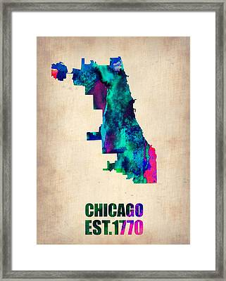 Chicago Watercolor Map Framed Print by Naxart Studio