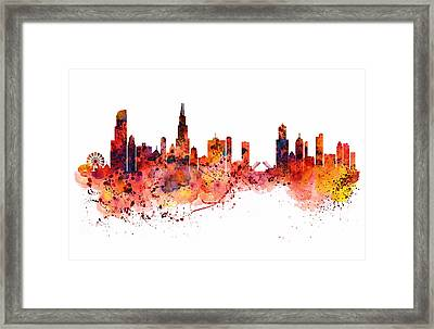 Chicago Watercolor Skyline Framed Print