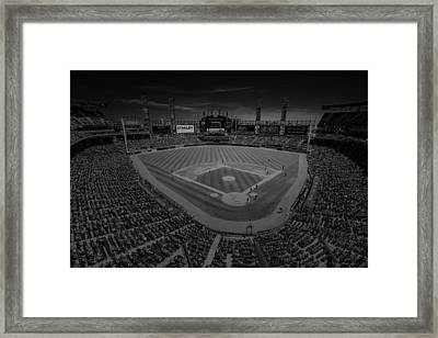 Chicago White Sox Us Cellular Field Creative 3 Black And White Framed Print by David Haskett