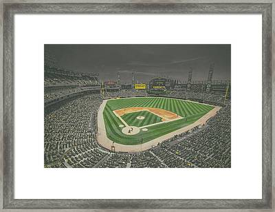 Chicago White Sox Us Cellular Field Creative 4 Black And White Framed Print by David Haskett