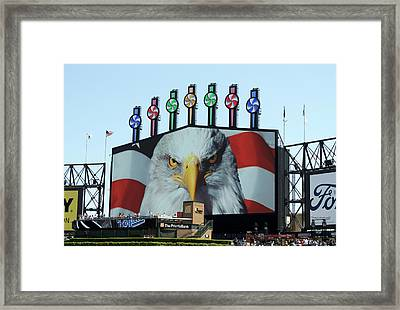 Chicago White Sox Usa Eagle Scoreboard Framed Print