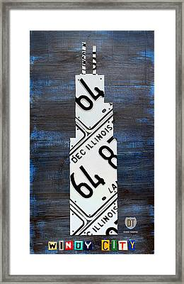 Chicago Windy City Harris Sears Tower License Plate Art Framed Print by Design Turnpike