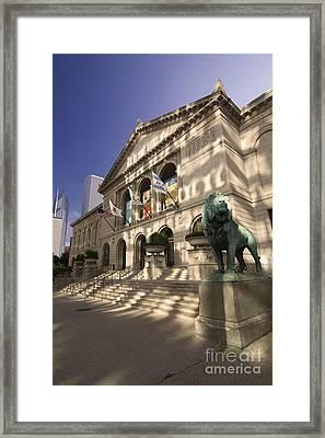 Chicago's Art Institute In Reflected Light. Framed Print