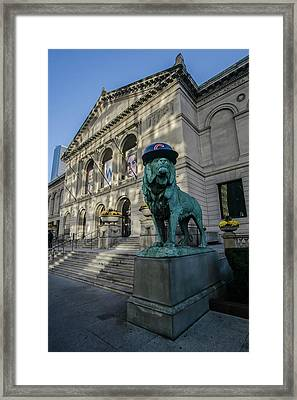 Chicago's Art Institute With Cubs Hat Framed Print