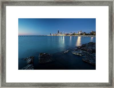 Chicago's Lakefront And Skyline At Dawn  Framed Print by Sven Brogren