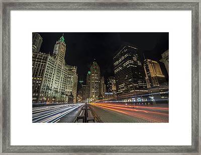 Chicago's Mag Mile Night Streaks Framed Print