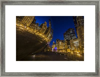 Chicago's Millenium Park At Dusk Framed Print
