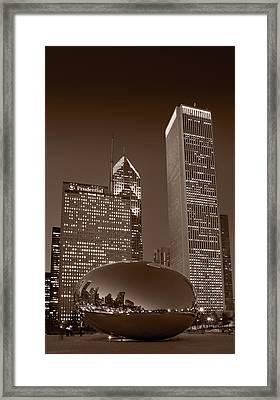 Chicagos Millennium Park Bw Framed Print by Steve Gadomski