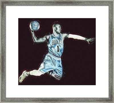 Chicao Bulls Derrick Rose Painted Digitally Blue Framed Print by David Haskett