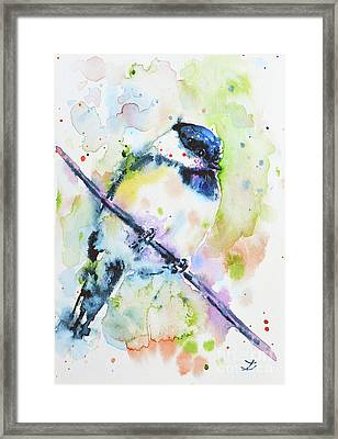 Framed Print featuring the painting Chick-a-dee-dee-dee by Zaira Dzhaubaeva