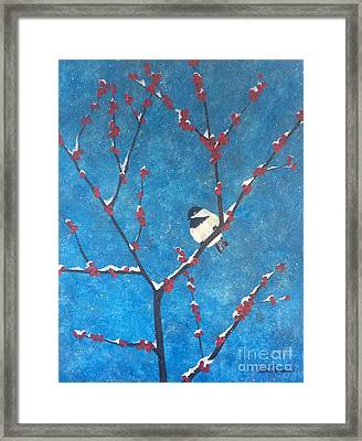 Framed Print featuring the painting Chickadee Bird by Denise Tomasura
