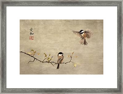 Chickadee Encounter II Framed Print
