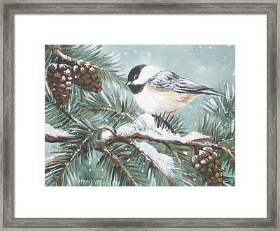 Chickadee Framed Print by May Moore